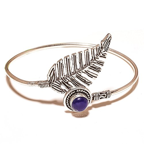 Gorgeous! Blue Dyed Sapphire Sterling Silver Overlay 16 Grams Bangle/Bracelet Free Size by Shivi
