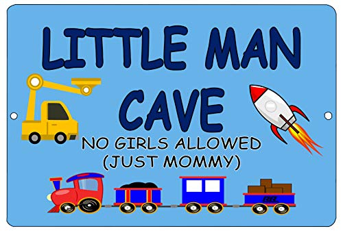 Rogue River Tactical Funny Little Man Cave Boys Bedroom Door Sign Metal Tin Sign Wall Decor No Girls Allowed Just Mommy (Boy Signs Metal)
