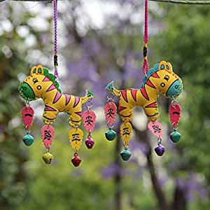 Hot Handmade Artware Small Horse Shaped Colored Leather Windbell Charms Pendant