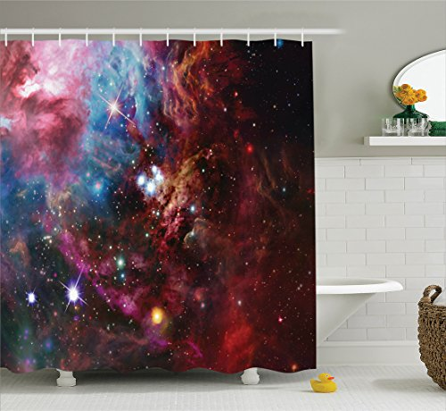 Ambesonne Space Decorations Collection, Space Nebula with Star Cluster in the Cosmos Universe Galaxy Solar Celestial Zone, Polyester Fabric Bathroom Shower Curtain Set with Hooks, Teal Red Pink