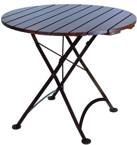 (Mobel Designhaus French Café Bistro Folding Table, Jet Black Frame, 32