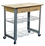 Metal Kitchen Cart Natural Solid Wood Top with Metal Base and Adjustable Racks