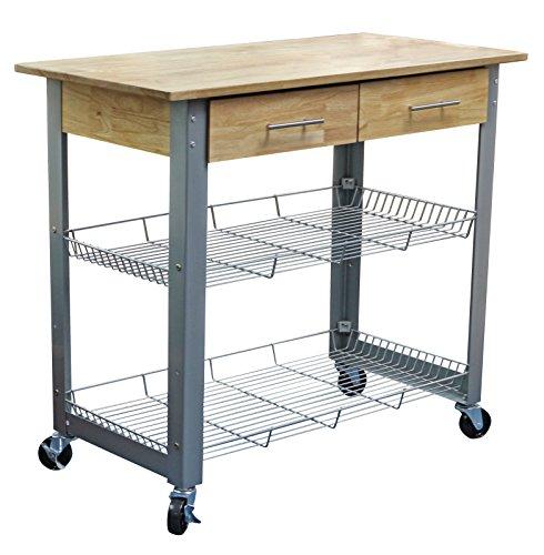 - eHemco Metal Kitchen Cart Natural Solid Wood Top with Metal Base and Adjustable Racks