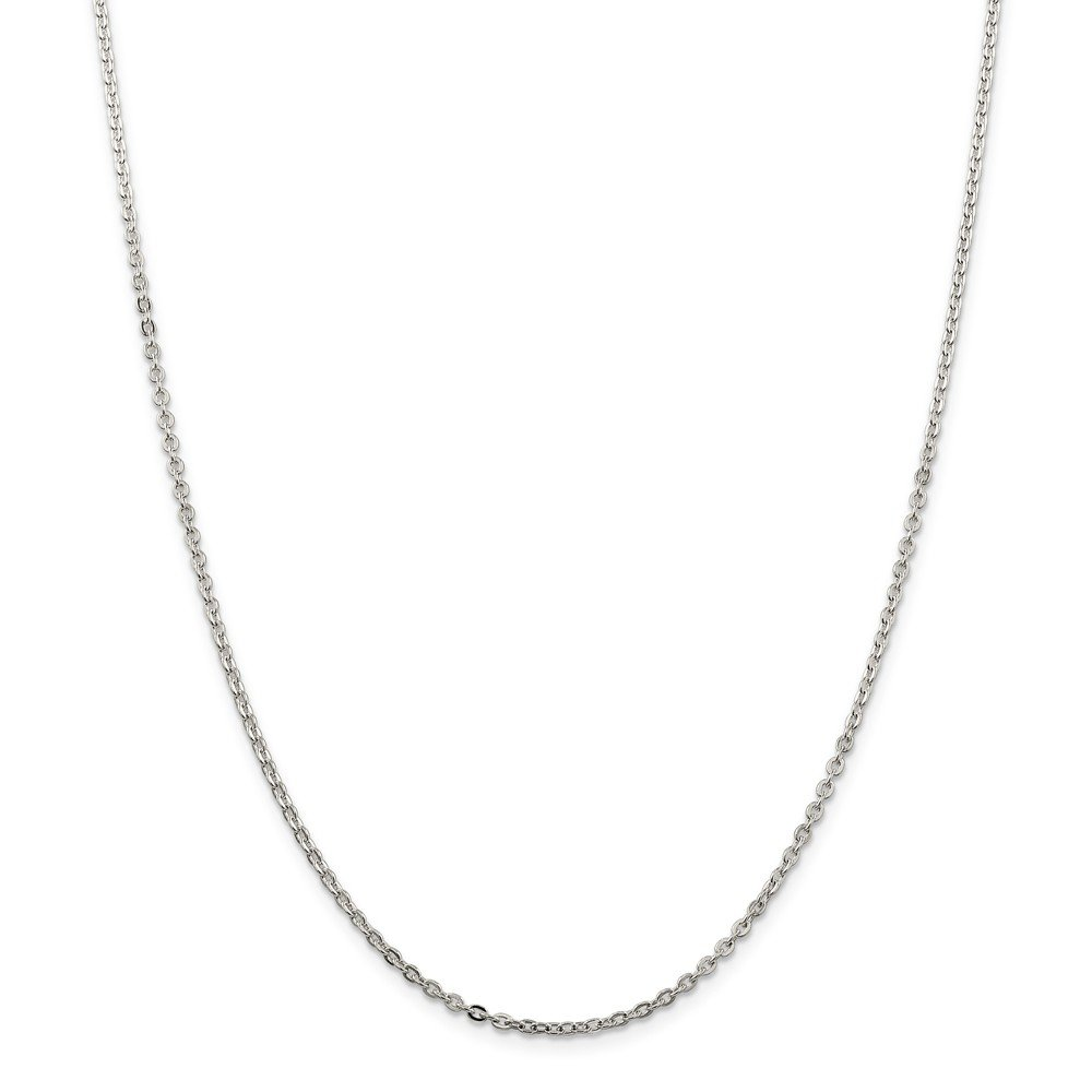 18 Mia Diamonds 925 Sterling Silver Solid 2mm Flat Cable Necklace Chain 18in x 2mm