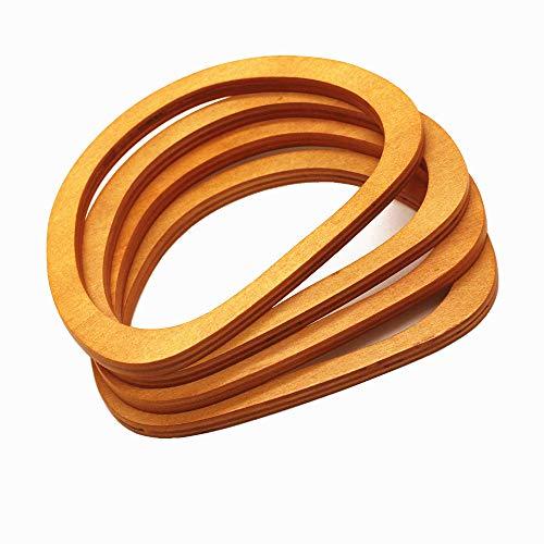 (Model Worker 4PCS Wooden Oval Shaped Handles Replacement for Handmade Bag Handbags Purse Handles (Light Brown))