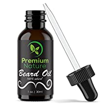 Beard Oil Conditioner for Men - Beard Balm Leave In Conditioner for Mustache & Beard Growth - Soften Soothe & Moisturize Skin & Hair - Castor Jojoba Almond & More Essential Oils 1 oz - Premium Nature