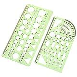 2PCS Plastic Green Measuring Templates Geometric