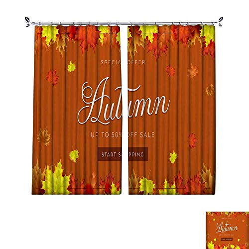 - DragonBuildingMaterials Drapes for Living Room Autumn Theme Sale Background Layout Decorate with Leaves for Promo or Shopping Sale W120 x L84