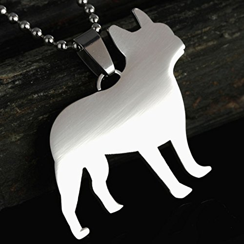 (Stainless Steel French Bulldog Frenchie Bull Dog Silhouette Pet Dog Charm Pendant Necklace)