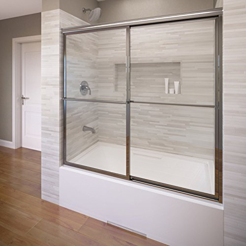 Basco Deluxe Framed Sliding Tub Door, Fits 54-56 inch opening, Clear Glass, Silver Finish
