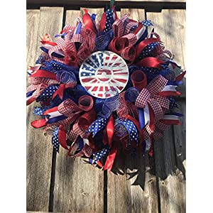 Windmill/Patriotic/4th of July/Red White Blue/Wreath/Deco Mesh/KL Handmade 41