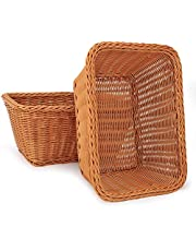 """3 Pack 11.2""""x 8.5""""x 5.5"""" Tabletop Food Serving Baskets Trays,Poly-Wicker Serving Basket, Bread Proofing Basket, Food Fruit Vegetable Sundries Storage Basket for Restaurant Bakery Family Party"""