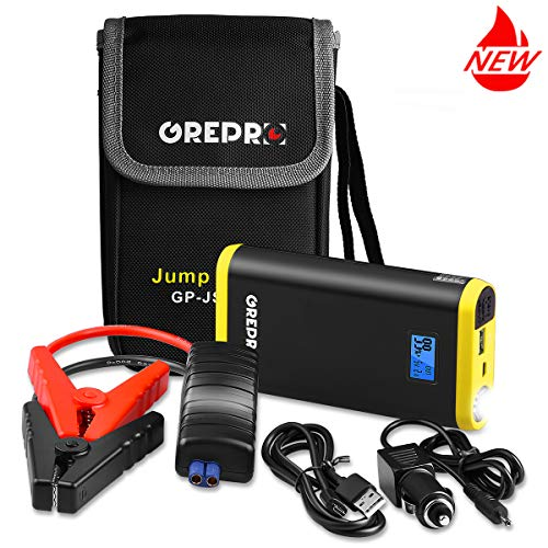 GREPRO Car Jump Starter Kit 500A 9000mAh for 12V Vehicle (up to 4.5L Gas, 2.5L Diesel Engine), Auto Battery Booster with LED Flashlight and LCD Screen, Portable Power Pack with ()
