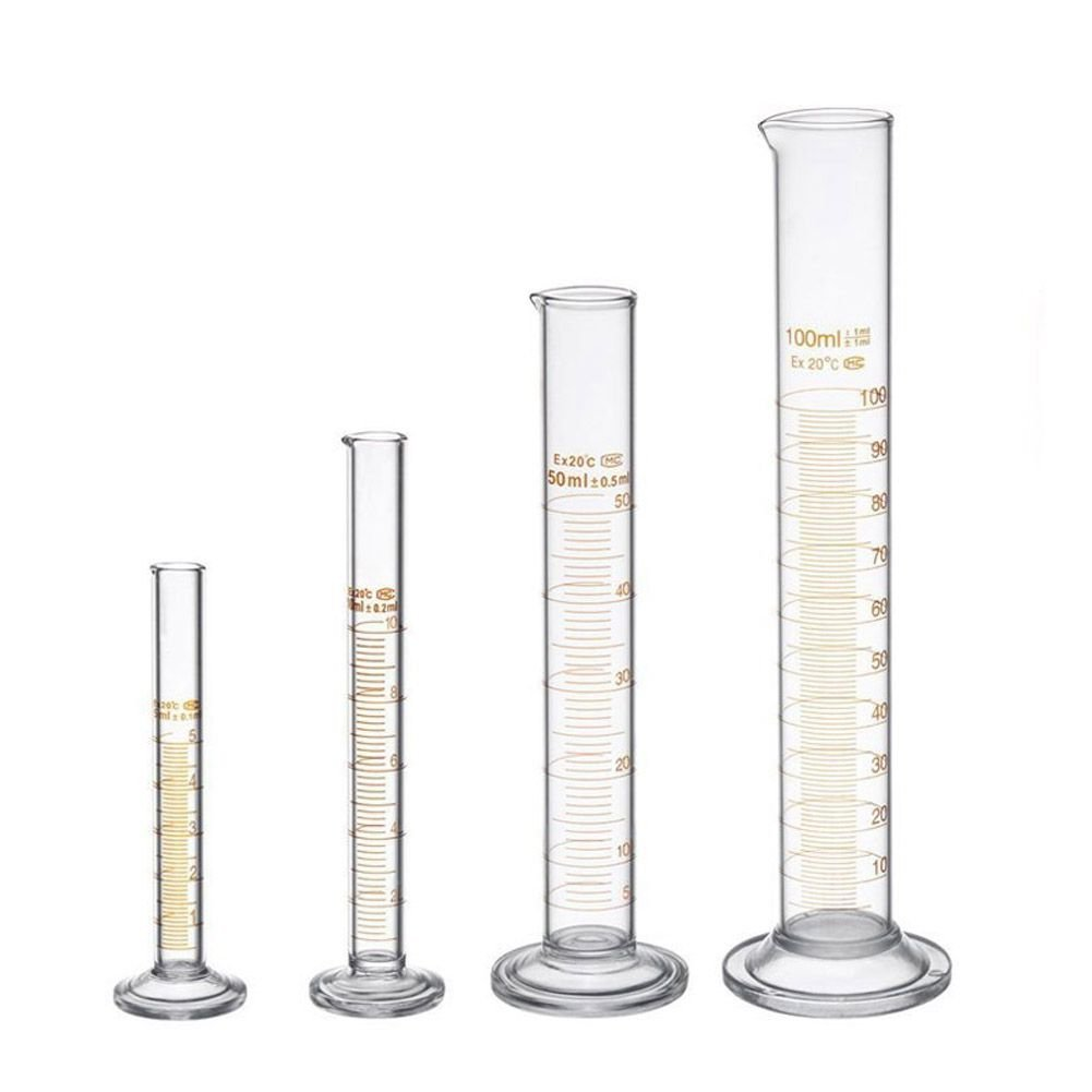 TOOGOO Thick Glass Graduated Measuring Cylinder Set 5ml 10ml 50ml 100ml Glass with Two Brushes
