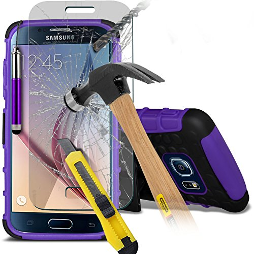 Fone-Case ( Purple ) Samsung Galaxy S6 Case Brand New Luxury Tough Survivor Hard Rugged Shock Proof Heavy Duty Case W/ Back Stand, Tempered Glass Crystal Clear LCD Screen Protectors, Polishing Cloth & Mini Retractable Stylus Pen