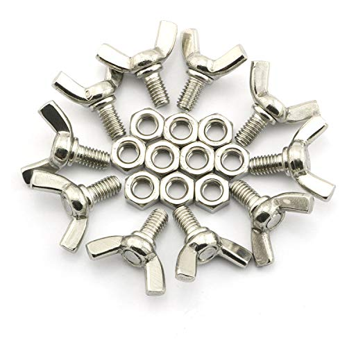 10 Pack M6x10mm Wing Bolt Sets 304 Stainless Steel Machine Screws Fastener Thumb Butterfly Screw with Hex ()