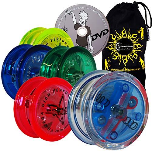 (Yomega Saber-Wing Brain Flared Shaped Yoyo with Starburst Response System - Supreme Quality Medium Yo-Yo for Kids & Adults + Learn DVD + Travel Bag! Ideal Yo-Yo for Starters & Adults (Light Green))