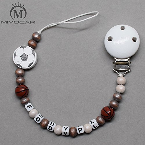 MIYOCAR Personalised Any name football basket ball style wooden beads dummy clip holder pacifier clip soother chain teether clip