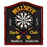 RAM Gameroom Products Wooden Dartboard Cabinet, Bullseye Darts Club - Double In, Double Out