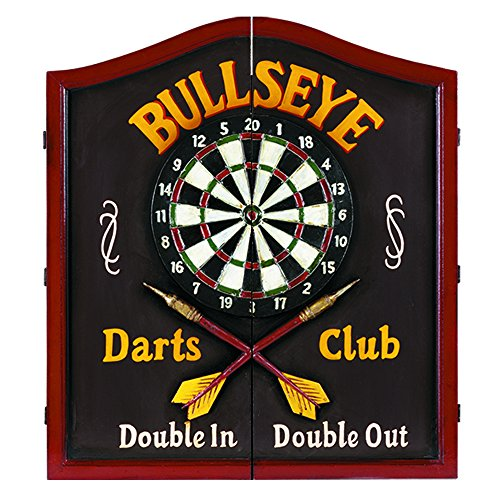 RAM Gameroom Products Wooden Dartboard Cabinet, Bullseye Darts Club - Double in, Double Out ()