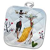 3dRose Trendy Fantasy Winter Fashion Show Deer Animal in Cool Dress Potholders, 8 x 8, White