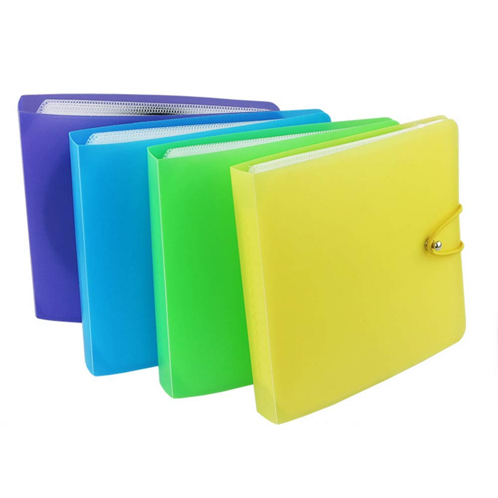 Yamalans 12 Discs CD DVD Holder Pack,Double Clear Storage Case Carrying Bag Organizer Pouch Random 14.5cm x 13.5cm
