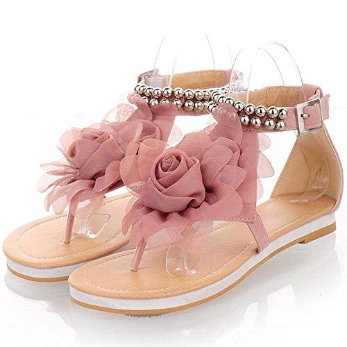 RAZAMAZA Zapatos Mujer Clip Toe Al Tobillo Plano Verano Sandalias De Flor 538 Rosado
