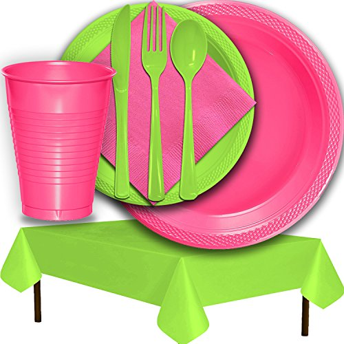 Plastic Party Supplies for 50 Guests - Hot Pink and Lime Green - Dinner Plates, Dessert Plates, Cups, Lunch Napkins, Cutlery, and Tablecloths - Premium Quality Tableware Set