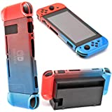 CtrlDepot Gradient Color Compatible for Nintendo Switch Case Hard Shell Set with Right + Left Joy-con Controller Cover Slim Fits Dock for Switch Case Protector (Blue & Red)