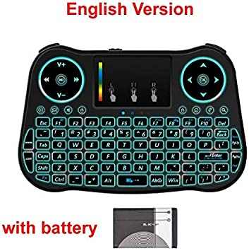 Color: English with battery Calvas MT08 Rainbow backlit Mini Wireless Keyboard Touchpad 2.4GHz Air Mouse For Smart TV BOX Computer English Russian Spanish