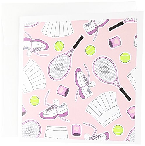3dRose Cute Tennis Pattern Pink - Greeting Cards, 6 x 6 inches, set of 6 (gc_172135_1) (Tennis Card Set)