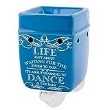 Elanze Designs Life Learning Dance in The Rain Blue Stoneware Electric Plug-in Wax Tart Oil Warmer