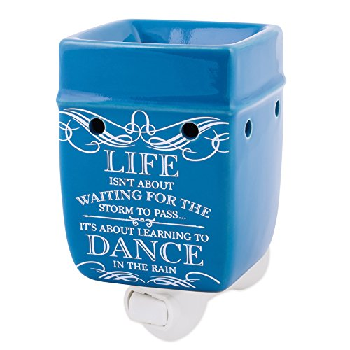 (Elanze Designs Life Learning Dance in The Rain Blue Stoneware Electric Plug-in Wax Tart Oil Warmer )