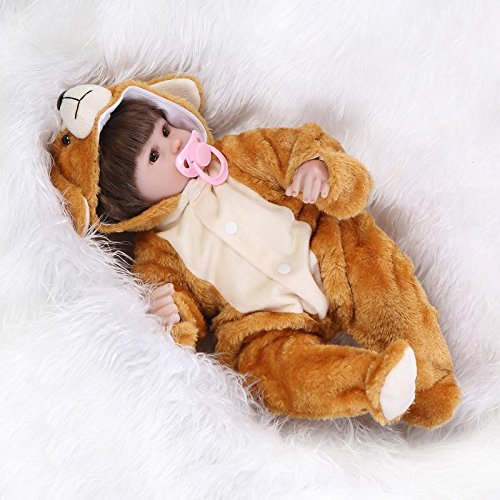 Bear Outfit Reborn Dolls Crafted in Soft Silicone Vinyl, 16.5inch 42cm Weighted Baby, Realistic Baby Girl Dolls (Bear Outfit)