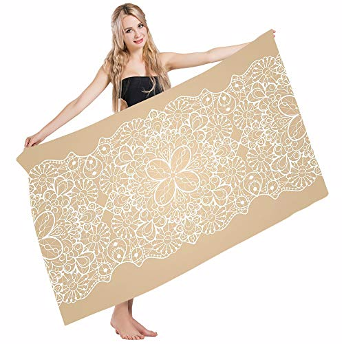 Mugod Beach Towel Bath Towels Beige White Antique Intricate Lace Style Horizontal Ribbon Vintage Floral Classic Yoga/Golf/Swim/Hair/Hand Towel for Men Women Girl Kids Baby 64x32 Inch by Mugod