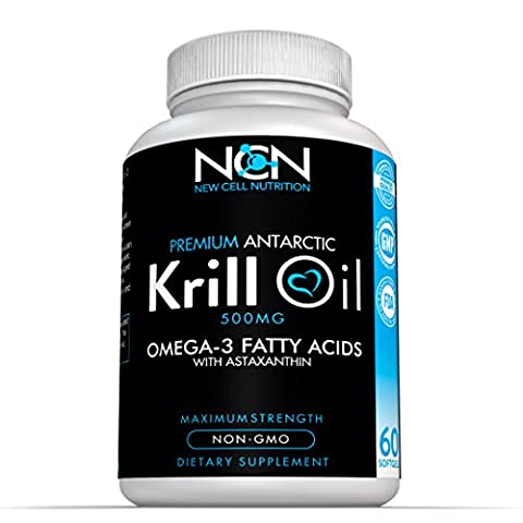100% Cold Pressed Antarctic Krill Oil Omega 3 by New Cell Nutrition–Easily Absorbed EPA, DHA & Astaxanthin –Powerful Antioxidant –1000 mg/2 capsules –Promotes Cardiovascular & Brain - Omega 3 Krill Oil