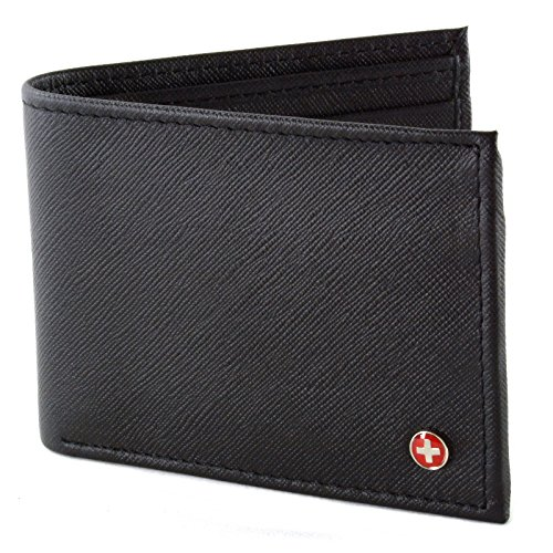 Alpine Swiss Men's Genuine Leather Wallet Slim Flip-out Bifold Crosshatch Black