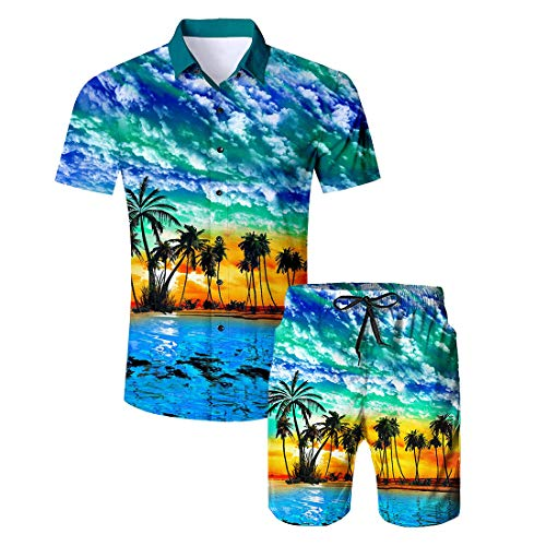 Camiseta botones Hawaiian 1 de Men Aideaone playa con Swx1qSAP
