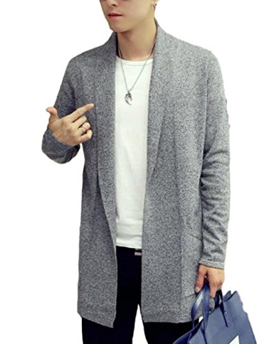 [meryueru(メリュエル)] ソリッド カラー スマート デザイン ミドル ニット カーディガン 春 秋 冬 ボタンなし メンズ