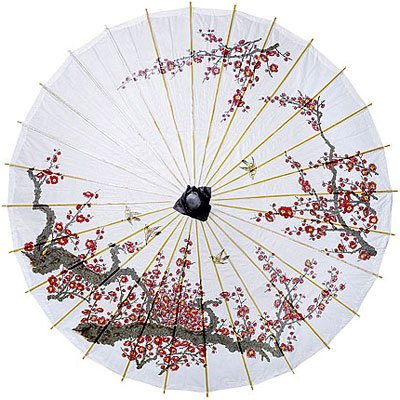 1920s Accessories Luna Bazaar Cherry Blossom Parasol 33-Inch - Chinese/Japanese Paper Umbrella - For Weddings and Personal Sun Protection $19.25 AT vintagedancer.com