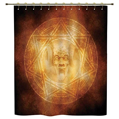 iPrint Shower Curtain,Horror House Decor,Demon Trap Symbol Logo Ceremony Creepy Ritual Fantasy Paranormal Design,Orange,Polyester Shower Curtains Bathroom Decor Sets with Hooks by iPrint