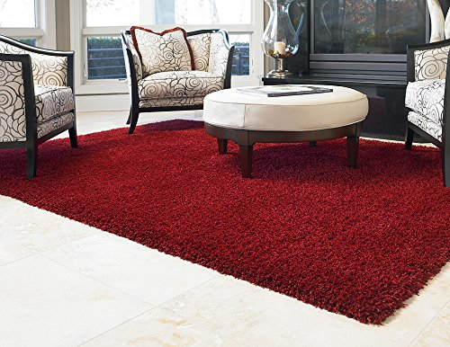 Gertmenian True Shags Platinum Label Red Shag Rug 5×7 – Soft Olefin Yarn 2 Inch in Luxury Apple Solid Color Area Rugs For Sale