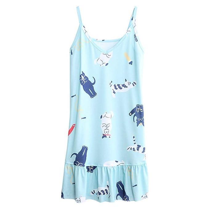 Mmllse Sling Camisón Vestido Suelto De Verano Mujer Se Puede Usar Fuera De Algodón Sección Delgada Algodón De La Muchacha Pijamas Japoneses: Amazon.es: Ropa ...