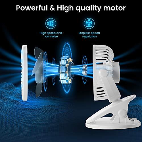 Battery Operated Clip on Fan for Bay Stroller, USB Rechargeable Battery Powered Mini Desk Fan(White)