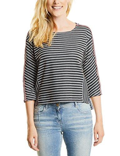 Cecil Key_doubleface Stripe, Camiseta para Mujer Schwarz (Black 20001)