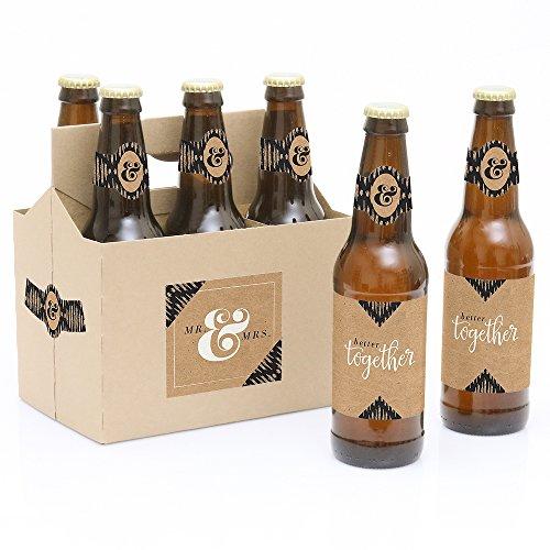 Better Together - 6 Wedding Beer Bottle Labels with 1 Beer Carrier