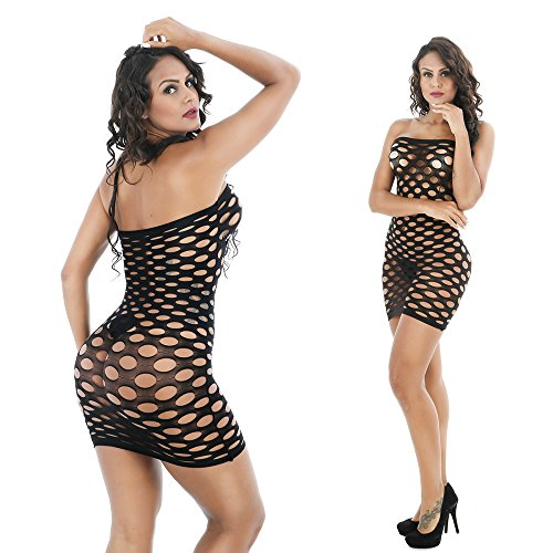 Sexy Costumes Womens Mesh Chemise Dress Fishnet Lingerie BabyDoll Nighties Minidress Perspective Lingerie