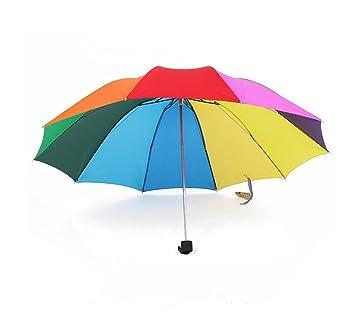 HYHAN Paraguas plegable Súper Hombres Mujeres Color Creativo Y doble reforzado de protección solar UV 30
