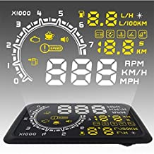 Heads Up Display-Glamouric Vehicle Windshield HUD with OBD2 EOBD Interface for Cars RPM MPH KM/H Over Speed Warning Fuel Consumption Engine Speed Water Temperature