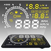 Heads Up Display - Glamouric Vehicle Windshield HUD Projector with OBD2 EOBD Interface for Cars RPM MPH KM/H Over Speed Warning Fuel Consumption Automobile Alarm System